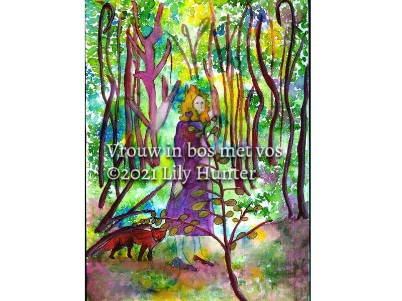 Vrouw in bos met vos