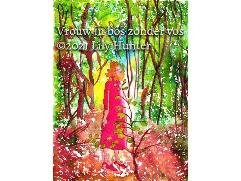 Vrouw in bos zonder vos